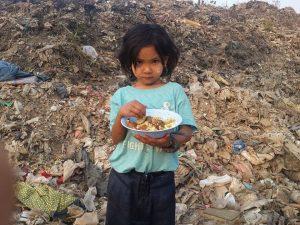 Refugee in land dump