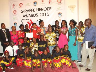 Christine accepting Giraffe Award