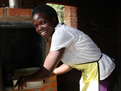Woman baking in Uganda