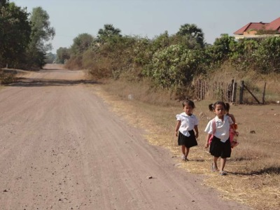 Girls walking to school in Cambodia