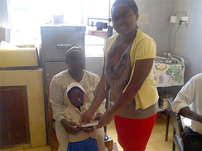 A child with HIV Receiving medical help in Kenya