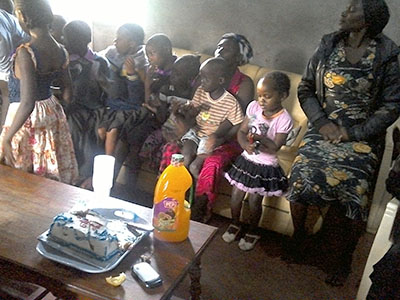 Children celebrate a birthday party in Kenya