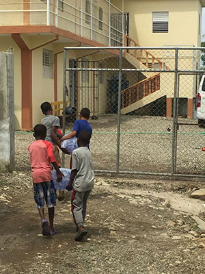 Cayacoa children prepare for Hurricane Maria