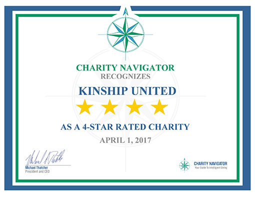 Kinship United has received another four-star rating from Charity Navigator. And we couldn't have done it without you!