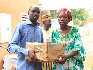Widow Sankara receives emergency food supplies in Burkina Faso.