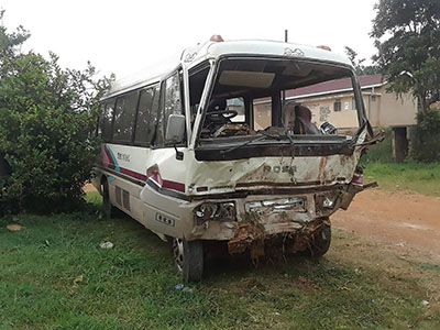 On New Year's Eve, the ministry bus in Uganda crashed.