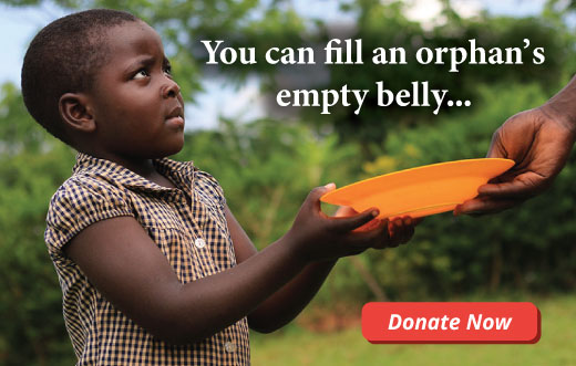 You can fill an orphan's empty belly. Donate now to provide a hot meal.