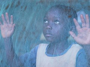 Young boy peers through a mosquito net