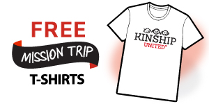 A white shirt with a Kinship United logo sits on a black background.