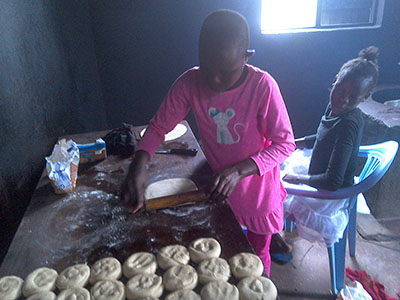 Brenda making chapati