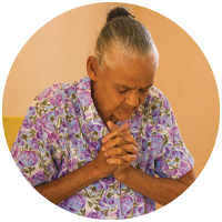 A woman praying in the Dominican Republic