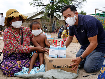 Food distributed to a family in Cambodia