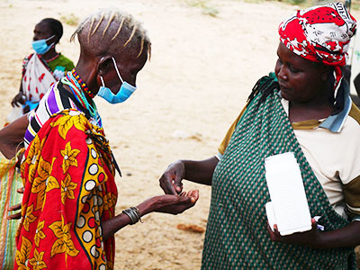 Medicine distribution during the traveling medical clinic in Kenya